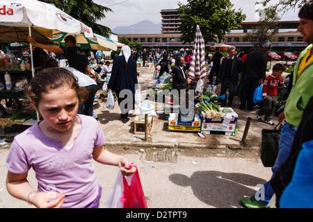 Pazari i ri, Central Market in Tirana, Albania - Stock Photo