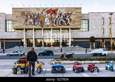 Karts at Skanderbeg square, next to National Historical Museum. Tirana, Albania - Stock Photo