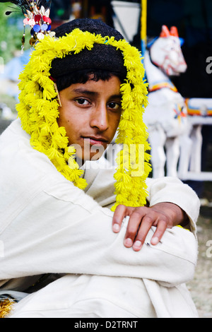 Young male of Kshatriya high caste in traditional outfit at the festival of Nagar, Kullu Valley, Himachal Pradesh, - Stock Photo