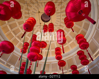 Red Chinese New Year lanterns hanging from a dome in the Bellagio Hotel in Las Vegas, Nevada - Stock Photo
