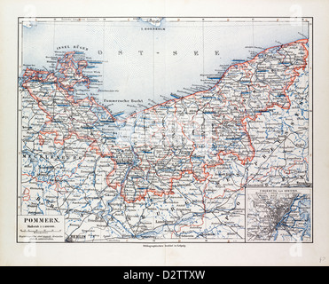 MAP OF MECKLENBURG GERMANY 1899 Stock Photo Royalty Free Image