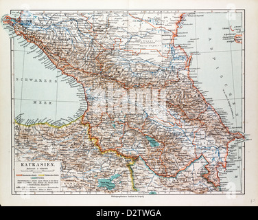 MAP OF TRANSCAUCASIA GEORGIA AZERBAIJAN ARMENIA 1899 - Stock Photo