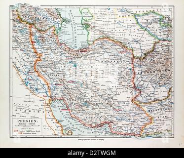 MAP OF IRAN 1899 - Stock Photo