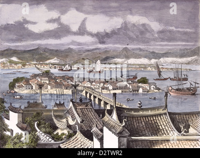 City of Foochow engraving 1884 - Stock Photo