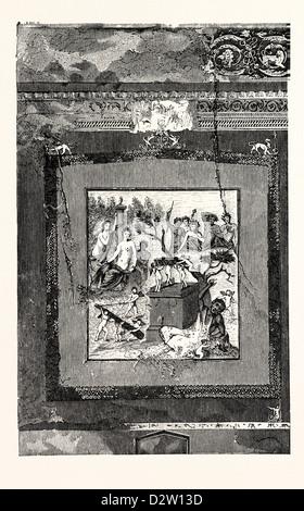 FRESCO FROM THE HOUSE OF SIRICUS AT POMPEII - Stock Photo