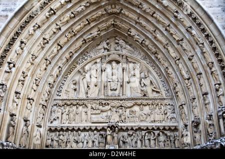 The last judgement portal on the west facade of Notre Dame de Paris cathedral - Paris, France Stock Photo