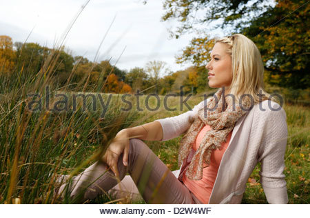 Woman resting outdoor - Stock Photo