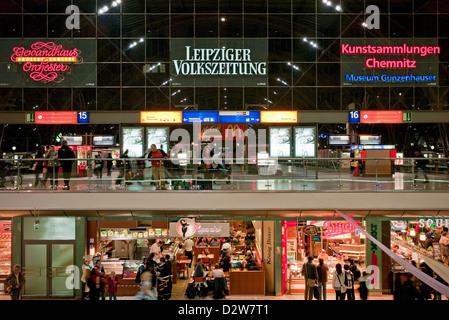 Leipzig, Germany, Leipzig Hautbahnhof promenades - Stock Photo