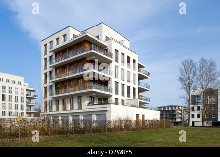 Berlin, Germany, at the newly built townhouses Rummelsburg Bay - Stock Photo