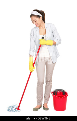 Full length of Chinese Asian / Caucasian woman cleaning floor with mop isolated on white background - Stock Photo