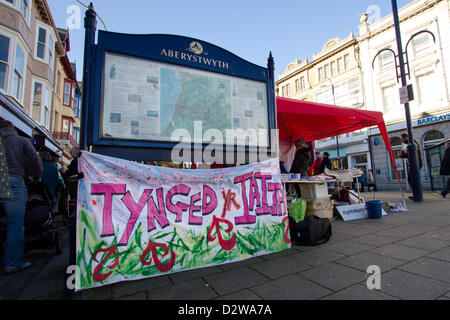 2 February 2013, Aberystwyth, Wales. On the same spot, supporters commemmorate fifty years since the first ever - Stock Photo