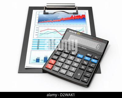 Business concept. Calculator, diagram, grapics and spreadsheet. 3d - Stock Photo