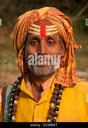 Sadhu (holy Men) at the Pashupatinath temple in Kathmandu, Nepal. - Stock Photo