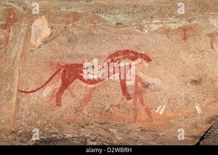 Bushmen (san) rock painting depicting a predator (cheetah), Drakensberg mountains, South Africa - Stock Photo