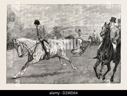HOUSE OF COMMONS POINT-TO-POINT STEEPLECHASE NEAR DAVENTRY: MR. A.E. PEASE WINNING ON NORA CREINA. - Stock Photo