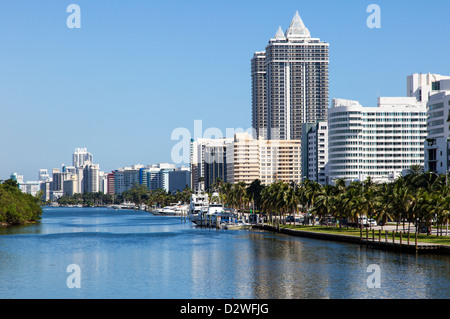 Miami Beach Hotels as seen from 41st Street, USA - Stock Photo