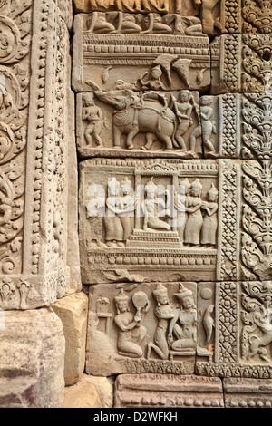 Detail on the wall of Baphuon Temple, Angkor Thom, Cambodia, Asia - Stock Photo