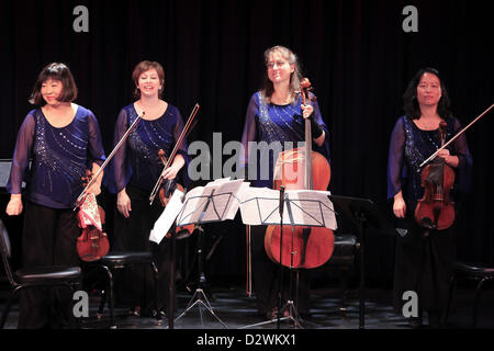 Feb. 2, 2013 - Tuxedo Ridge, NY, U.S. - The Cassatt Quartet performing Shoenberg, Schenker, Schillinger duringThe - Stock Photo