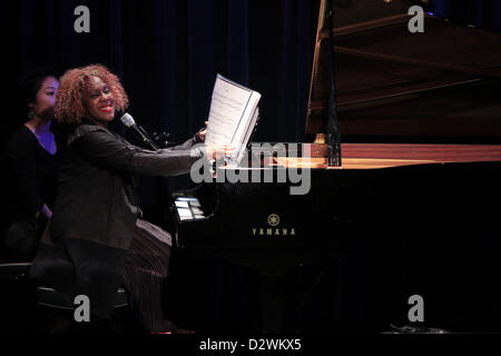 Feb. 2, 2013 - Tuxedo Ridge, NY, U.S. - Errollyn Wallen on piano performing duringThe Music of Now Marathon at Symphony - Stock Photo