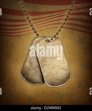 Dog Tags on an old grunge texture with the American flag theme made of blank metal with beaded necklace as a symbol - Stock Photo
