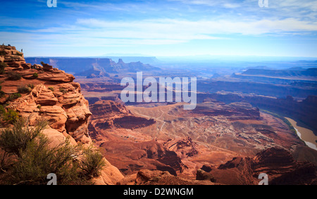 View of Utah desert canyons and the Colorado River in Canyonlands National Park from Dead Horse State Park, Utah, - Stock Photo