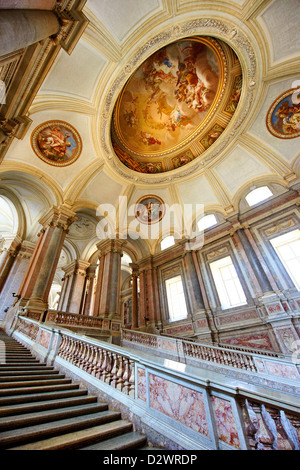 The Baroque Honour Grand Staircase entrance to the Bourbon Kings of Naples Royal Palace of Caserta, Italy.  - Stock Photo