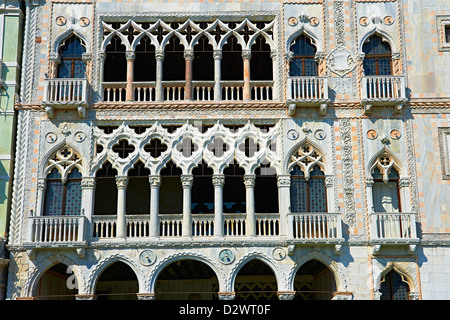 Palazzo Ca' d'Oro built in on the Grand Canal, Venice - Stock Photo