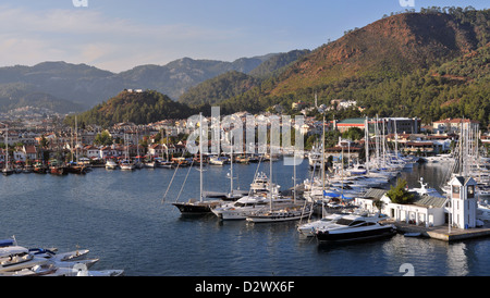 The yacht harbour in Marmaris, Turkey in mid September - Stock Photo