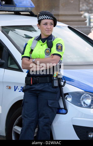 Portrait of  a Port Authority Police Barcelona, Spain Policia Portuarua near La Rambla - Stock Photo