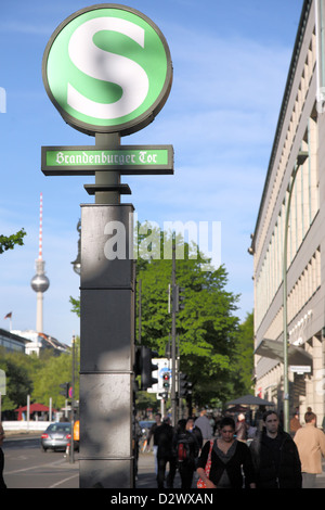 Berlin, Germany, sign S-Bahn Unter den Linden, the Brandenburg Gate - Stock Photo