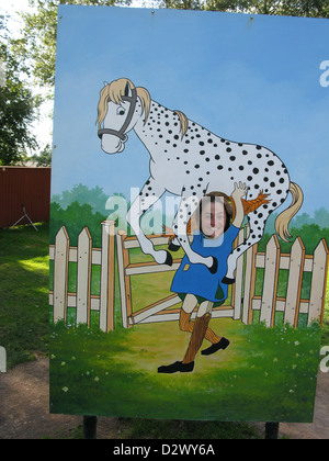 Vimmerby, Sweden, photo wall with Pippi Longstocking's horse in Astrid Lindgren's World - Stock Photo