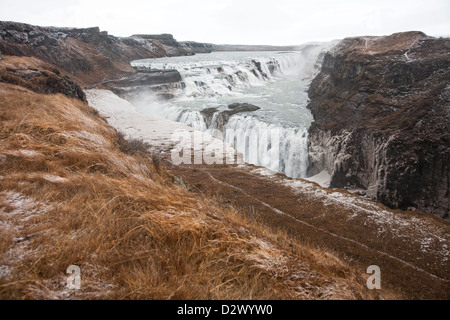 landscape view from distance of Gulfoss waterfall in Iceland - Stock Photo