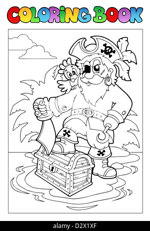 Coloring book with pirate scene 1 - thematic illustration. - Stock Photo