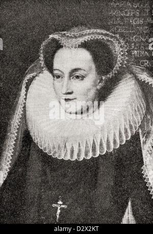 Mary, Queen of Scots, 1542 – 1587, aka Mary Stuart or Mary I of Scotland. Queen regnant of Scotland and queen consort - Stock Photo
