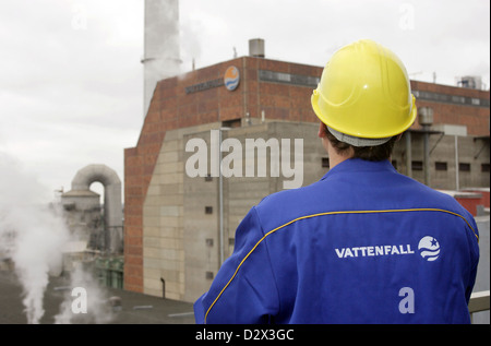 Berlin, Germany, before Vattenfallmitarbeiter HKW Klingenberg - Stock Photo