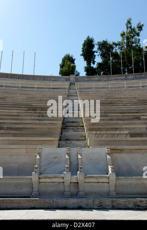 Panathenaic stadium. Athens. Greece. View of the Royal boxes (seats) used in 1896 located at the curved end of the - Stock Photo