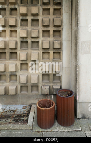 Chemnitz, Germany, facade detail of a three-dimensional concrete facade - Stock Photo