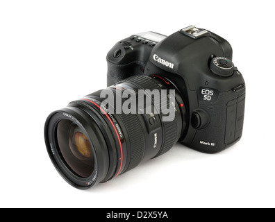 A Canon EOS 5D Mark III digital SLR camera with Canon EF 24-70mm f/2.8L zoom lens - Stock Photo