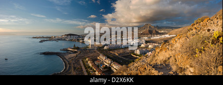 Panorama of the holiday resort of Los Cristianos, Tenerife - Stock Photo