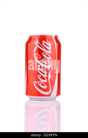 Kocaeli, Turkey - August 5, 2012: A can of Coca Cola isolated on white background. - Stock Photo