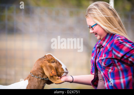 Girl and Goat - Stock Photo