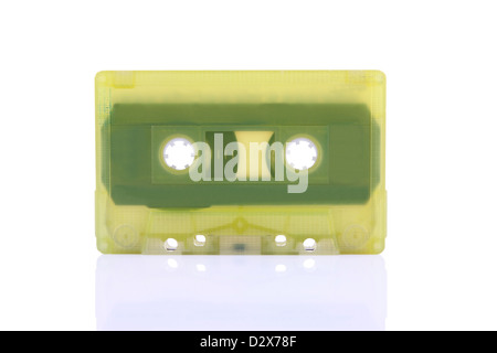 Compact Cassette isolated on white. Including clipping path. - Stock Photo