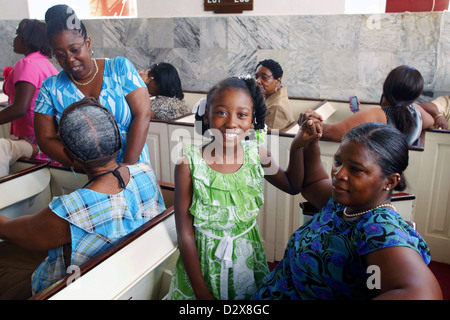 Before Sunday Mass, Frederick Evangelical Lutheran Church, Charlotte Amalie, St. Thomas, US Virgin Islands, Caribbean - Stock Photo