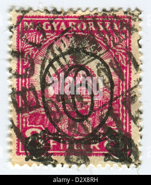 HUNGARY - CIRCA 1926: A stamp printed in Hungary shows image of the Crown of Saint Stephen, circa 1926.  - Stock Photo