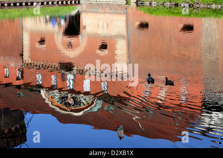 Berlin, Germany, the Spandau Citadel is reflected in the moat