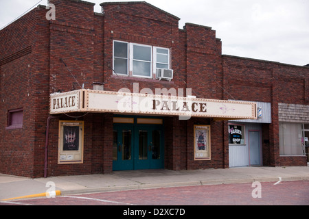 Old theater in a small town in Kansas - Stock Photo