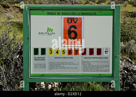 Warning sign showing UV radiation condition, Patagonia, Chile - Stock Photo
