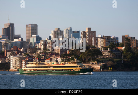 Sydney Harbour Ferry 'Collaroy' passing in front of  Admiralty House Kirribilli Sydney Australia - Stock Photo