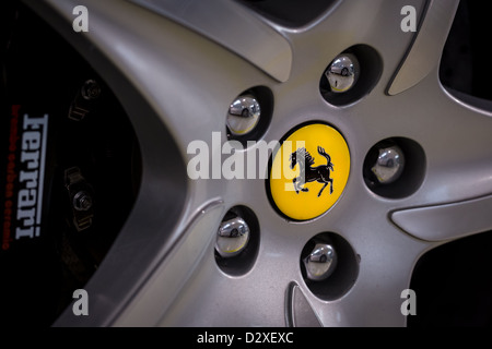 Ferrari logo on silver wheel rim, Moranello, Italy, Europe - Stock Photo