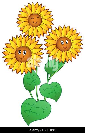 Cartoon Happy Sunflowers Stock Vector Art Illustration